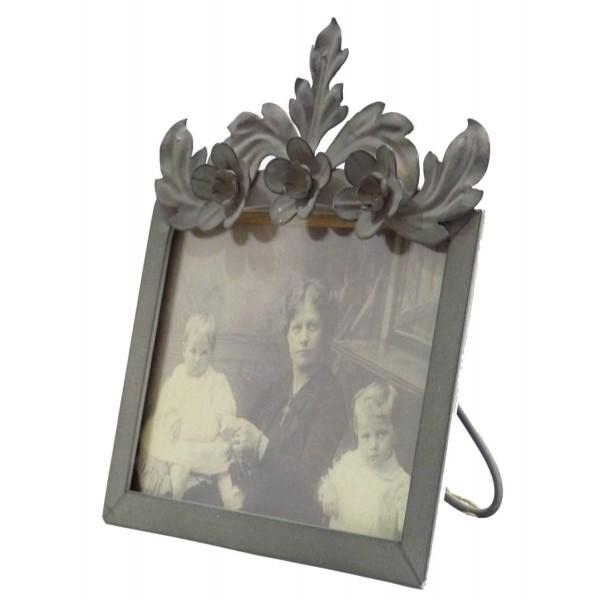 Cadre Photo Porte Souvenirs à Poser en Fer Patiné Gris 11,5x11,5x20cm