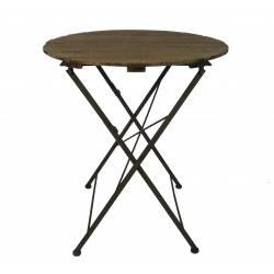 Table Ronde Desserte Pliable Console d'Appoint Intérieur Extérieur Guéridon en Bois et Fer 70x70x80cm