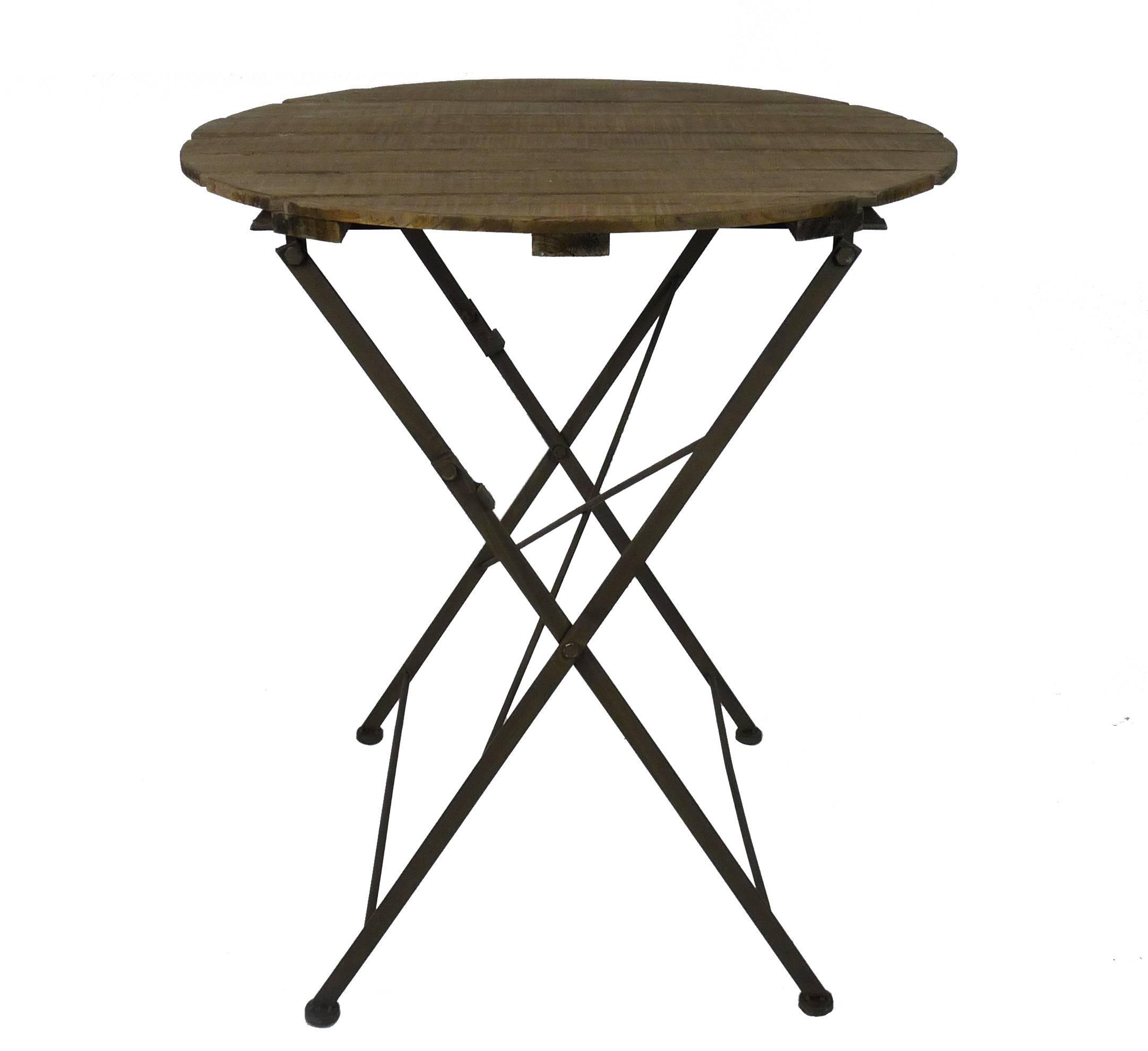 Table Bois Metal Exterieur table ronde desserte pliable console d'appoint intérieur extérieur guéridon  en bois et fer 70x70x80cm