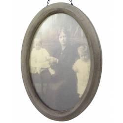 Grand Cadre Photo Ovale Porte Photographies Style Vintage en Bois Patiné Gris 2,3x20,5x25,5cm