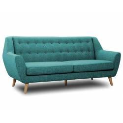 Canapé 3 Places Midelton Bleu Turquoise Sofa Banquette de Salon en Bois Massif Chêne et Tissu et Bouton Gris Souris 82x86x194cm