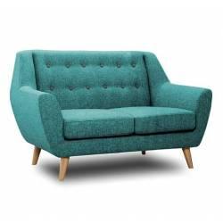Canapé 2 Places Midelton Bleu Turquoise Sofa Banquette de Salon en Bois Massif Chêne et Tissu et Bouton Gris Souris 82x86x138cm