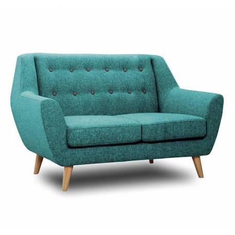 canap 2 places midelton bleu turquoise sofa banquette de salon en bois massif ch ne et tissu. Black Bedroom Furniture Sets. Home Design Ideas