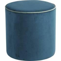 Pouf Countra Bleu Canard Liseré Vert de Gris Hanjel Assise d'Appoint de Salon Look Rétro en Pin et Velours 40x40x40cm