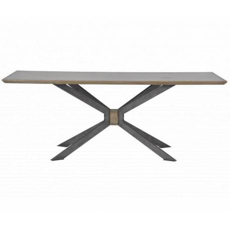 Table SPIDER de Signature Table de Salle à Manger Chêne Massif Plaqué Laiton Brillant Clouté Pied Araignée Fer 76x90x200cm