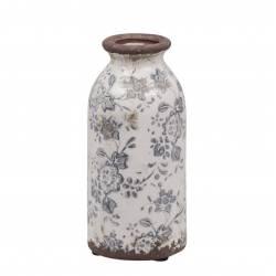 Vase Soliflore Pichet Broc Pot de Fleurs Décoration Intérieur Extérieur en Terre Cuite Emaillée Blanche et Bleue 7x7x16cm