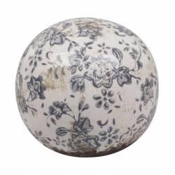 Sublime Boule Décorative Sphère Objet Déco à Poser en Terre Cuite Emaillée Blanche Motif Floral Bleu Ø12cm