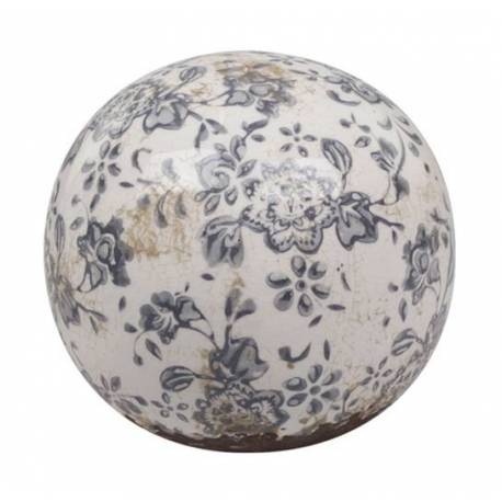 sublime boule d corative sph re objet d co poser en terre cuite emaill e blanche motif floral. Black Bedroom Furniture Sets. Home Design Ideas
