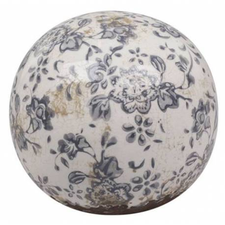 Magnifique Grande Boule Décorative Sphère Objet Déco à Poser en Terre Cuite Emaillée Blanche Motif Floral Bleu Ø15cm