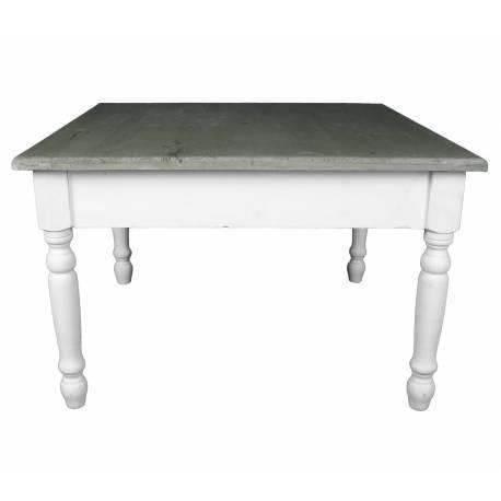 Charmante Table Basse Console de Salon Bout de Canapé Desserte d'Appoint Forme Carrée en Bois Patiné Blanc et Marron 45x70x70cm