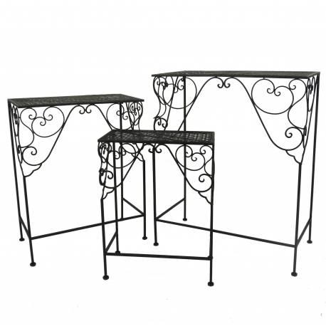 Lot 3 Guéridons Tables d'Appoint Consoles Gigognes Sellettes Bouts de Canapé Rectangles 3 Tailles en Fer Noir 31x58x71cm