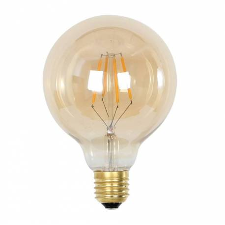 Ampoule Ronde Balle Sphérique à LED E27 Puissance 3W Dimmable Lumière Ambrée 9,5x9,5x13cm