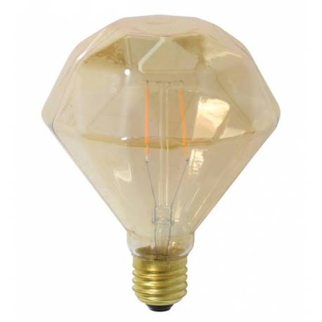 Ampoule Diamant Plat à LED E27 Puissance 3W Dimmable Lumière Ambrée 11x11x13cm