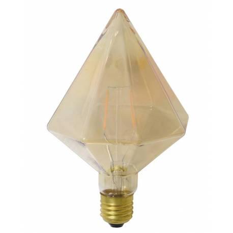 Ampoule Diamant Pointe à LED E27 Puissance 3W Dimmable Lumière Ambrée 11x11x17cm