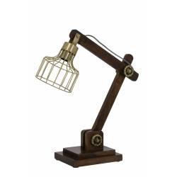 Lampe EBKE Electrique de Bureau à Poser Luminaire de Table Vintage Jour en Bois et Métal 15x45x50cm