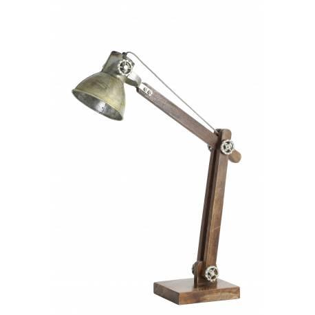 Lampe Electrique EKBER de Bureau à Poser Luminaire de Table Vintage avec Abat Jour en Bois et Métal Couleur Cuivre 18x55x58cm