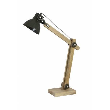 Lampe Electrique EKBER de Bureau à Poser Luminaire de Table Vintage avec Abat Jour en Bois et Métal Vert Foncé 18x55x58cm