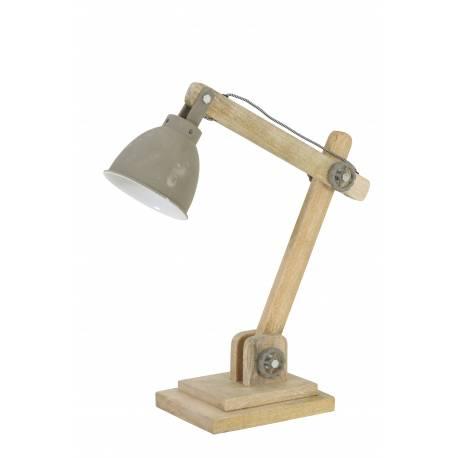 Lampe ELMER Electrique de Bureau à Poser Luminaire de Table Vintage Jour en Bois et Métal 15x45x50cm