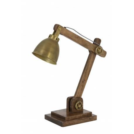 Lampe ELMER Electrique de Bureau à Poser Luminaire de Table Vintage Jour un Bois et Métal 15x45x50cm