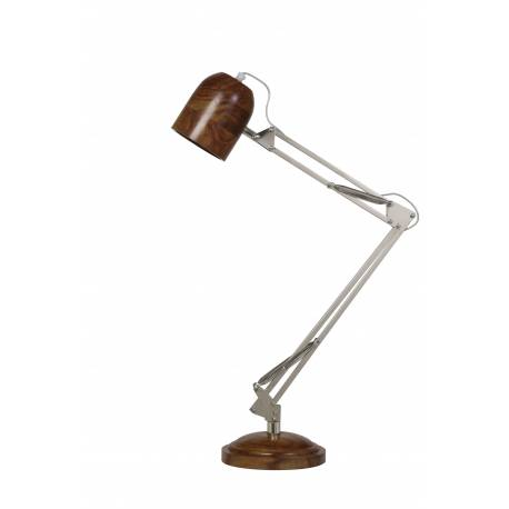 Lampe MOTANG Electrique de Bureau à Poser Luminaire de Table Vintage Jour un Bois et Métal 20x48x63cm