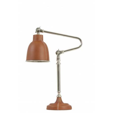 Lampe Electrique DEX de Bureau à Poser Luminaire de Table en Fer avec Abat Jour en Cuir Marron 20x37x61.5cm