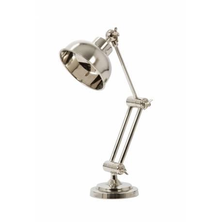 Lampe Electrique JEFFERSON de Bureau à Poser Luminaire de Table en Fer avec Abat Jour en Métal Chromé Argent 12x30x37cm