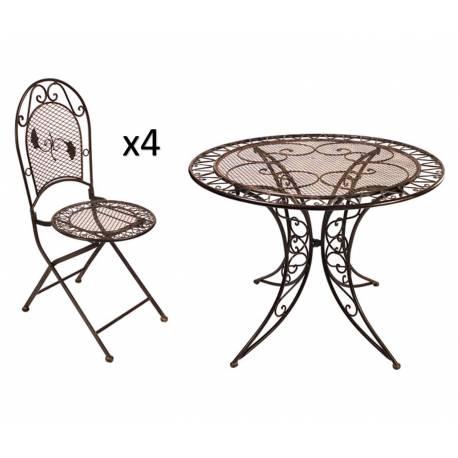Grand Salon de Jardin 4 Places 1 Table Ronde Ø100cm 4 Chaises Pliables en Fer Patiné Marron