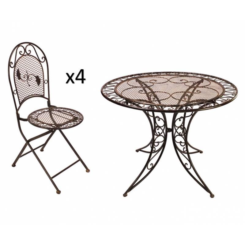 grand salon de jardin 4 places 1 table ronde 100cm 4 chaises pliables en fer patin marron l. Black Bedroom Furniture Sets. Home Design Ideas