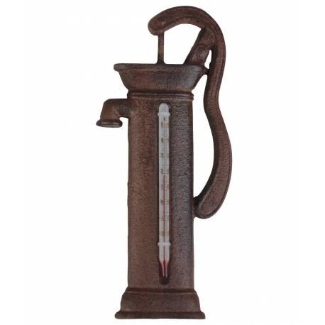 Thermomètre Mural ou à Poser Décoratif en Forme de Pompe à Eau en Celsius et Fahrenheit en Fonte Patinée Marron 3.5x6.5x19.50cm