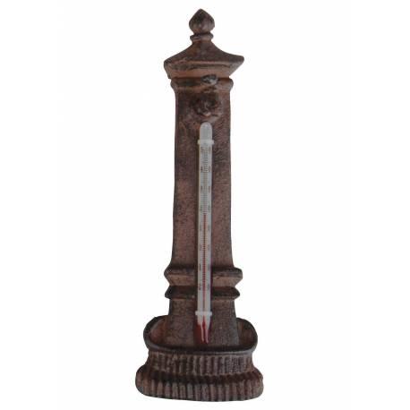 Thermomètre Mural ou à Poser Décoratif en Forme de Fontaine en Celsius et Fahrenheit en Fonte Patinée Marron2x9x20cm