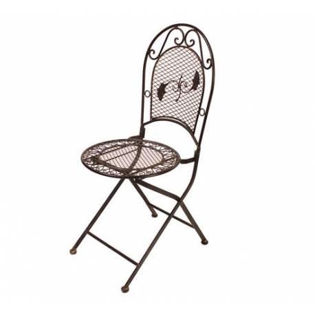 Chaise de Jardin Siège Fauteuil Assise de Salon de Jardin Intérieur Extérieur en Fer Marron 39x39x95cm