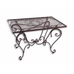 Table Basse Rectangulaire Fer Couleur Marron Console Desserte Table d'Appoint Pliable de Jardin 50x56x85xcm