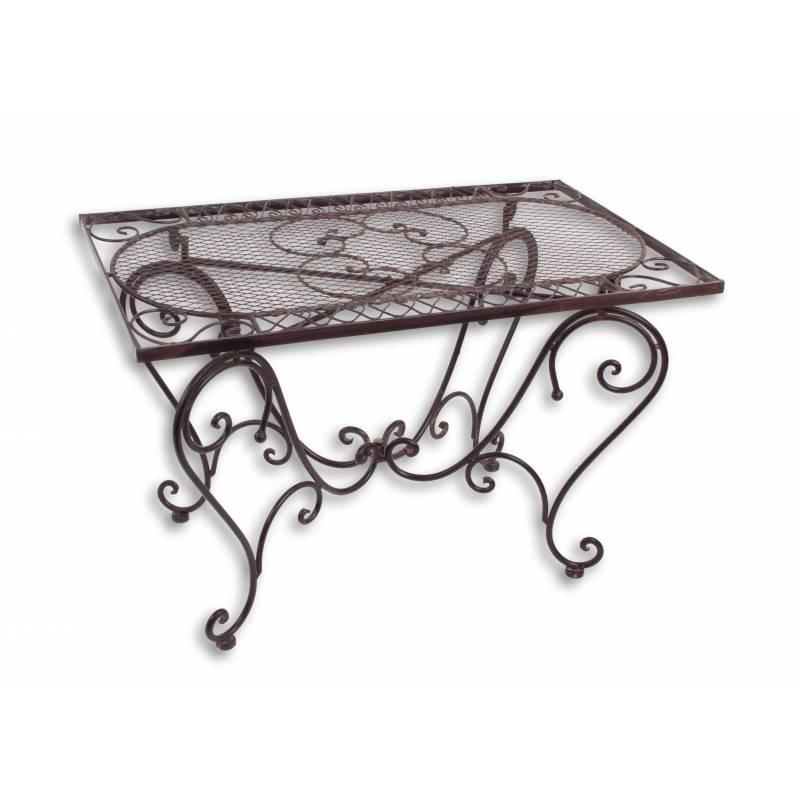 table basse rectangulaire fer couleur marron console. Black Bedroom Furniture Sets. Home Design Ideas
