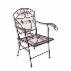 Fauteuil de Jardin Chaise Siège de Salon de Jardin à 2 Accoudoirs Banquette Extérieure Pliable 1 Place en Fer Marron 51x72x95cm