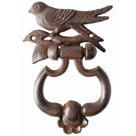 Heurtoir de Porte à Fixer en Fonte Patinée Marron Antique Motif Oiseau et Feuille 4x13x18cm