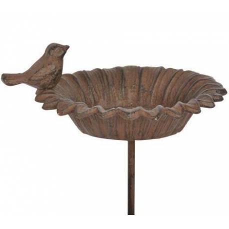 Bain à Oiseaux Abreuvoir Mangeoire Perchoir Porte Plante sur Pique Tuteur en Fonte Patiné Marron 13.5x13.5x77cm