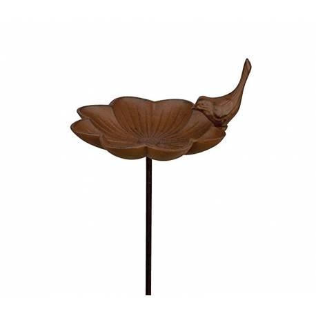 Bain à Oiseaux Abreuvoir Mangeoire Perchoir sur Pique Forme Fleur avec Oiseau en Fonte Patiné Marron 13.5x13.5x77cm