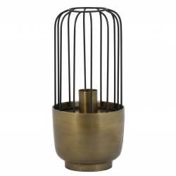 Lampe à Poser Luminaire Façon Cage à Oiseau Eclairage 1 Ampoule Deco Electrique en Fer Patiné Cuivre Antique 16.5x35cm