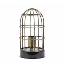 Lampe CARANDIRA à Poser Luminaire Façon Cage à Oiseau Eclairage 1 Ampoule Deco Electrique en Fer Patiné Bronze et Noir 14x25cm