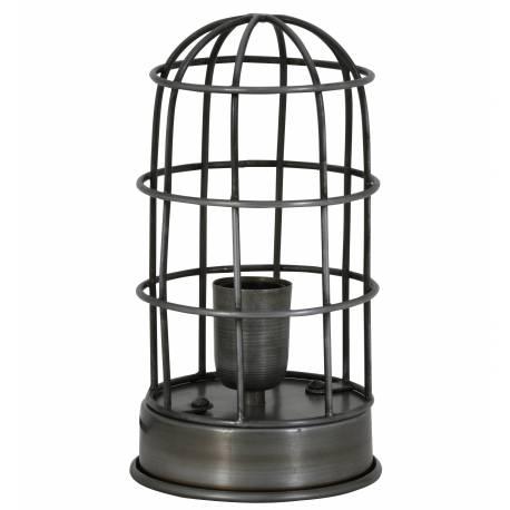 Lampe CARANDIRA à Poser Luminaire Façon Cage à Oiseau Eclairage 1 Ampoule Deco Electrique en Fer Patiné Etain 14x25cm