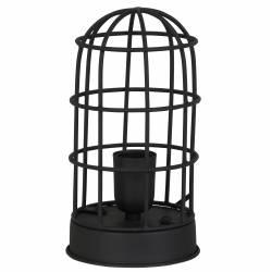 Lampe CARANDIRA à Poser Luminaire Façon Cage à Oiseau Eclairage 1 Ampoule Deco Electrique en Fer Patiné Noir 14x25cm