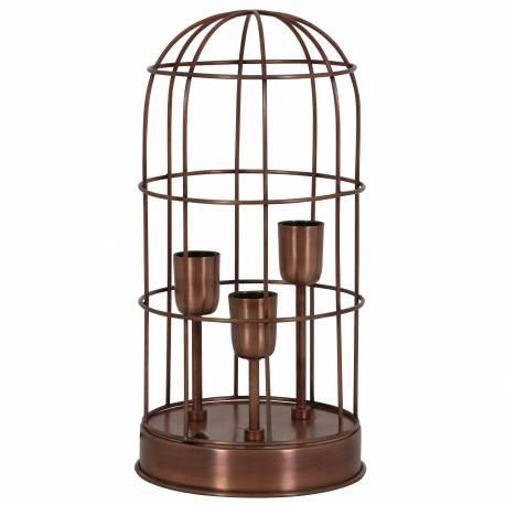 Lampe à Poser Luminaire Façon Cage à Oiseau Eclairage 3 Ampoules Deco Electrique en Fer Patiné Cuivre Antique 21x21x43cm