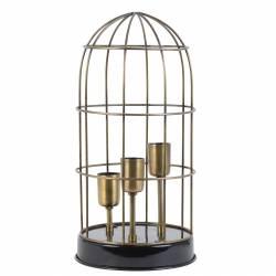 Lampe CARANDIRA à Poser Luminaire Cage à Oiseau Eclairage 3 Ampoules Deco Electrique en Fer Patiné Bronze et Noir 21x21x43cm