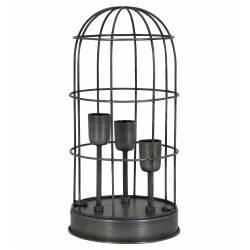 Lampe CARANDIRA à Poser Luminaire Cage à Oiseau Eclairage 3 Ampoules Deco Electrique en Fer Patiné Etain 21x21x43cm