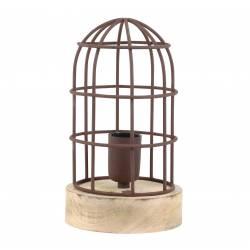 Lampe CARANDIRA à Poser Luminaire Façon Cage à Oiseau Eclairage 1 Ampoule Déco Electrique Fer et Bois Patiné Rouille 14,5x25cm