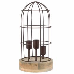 Lampe CARANDIRA à Poser Luminaire Cage à Oiseau Eclairage 3 Ampoules Deco Electrique en Bois Fer Patiné Rouille 21x21x43cm
