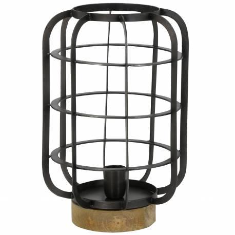 Luminaire d'Appoint SUZE Tendance à Poser de Bureau de Table Lanterne Cage à Oiseau Bois et Métal Noir 26x38cm