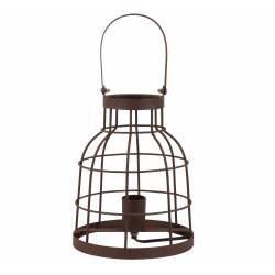 Lampe Lanterne avec Anse BRITANY Luminaire Cage de Table de Bureau Rond avec Poignée Couleur Rouille 20x40cm