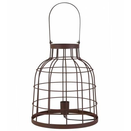 Lampe Lanterne avec Anse BRITANY Luminaire Cage de Table de Bureau Rond avec Poignée Couleur Rouille 30x54cm
