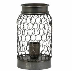 Luminaire Tendance Grillagé TUNAS Lampe d'Appoint à Poser de Table de Bureau 1 Ampoule en Métal Patiné Etain 12,5x24cm